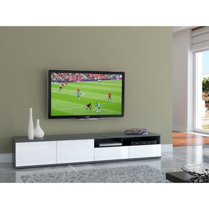 finlandek meuble tv outo 219cm gris et blanc achat vente meuble tv finlandek meuble tv 220. Black Bedroom Furniture Sets. Home Design Ideas