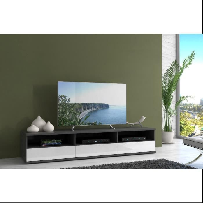 finlandek meuble tv huono 193cm gris et blanc achat. Black Bedroom Furniture Sets. Home Design Ideas