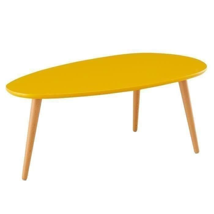stone table basse scandinave laqu e jaune moutarde satin l 88 x l 48 cm achat vente table. Black Bedroom Furniture Sets. Home Design Ideas