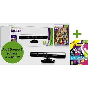 CÂBLE JEUX VIDEO Pack Kinect X360+Kinect Adventures+JUST DANCE 3