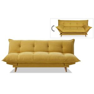CLIC-CLAC SOFTY Banquette convertible - Tissu jaune - Pieds