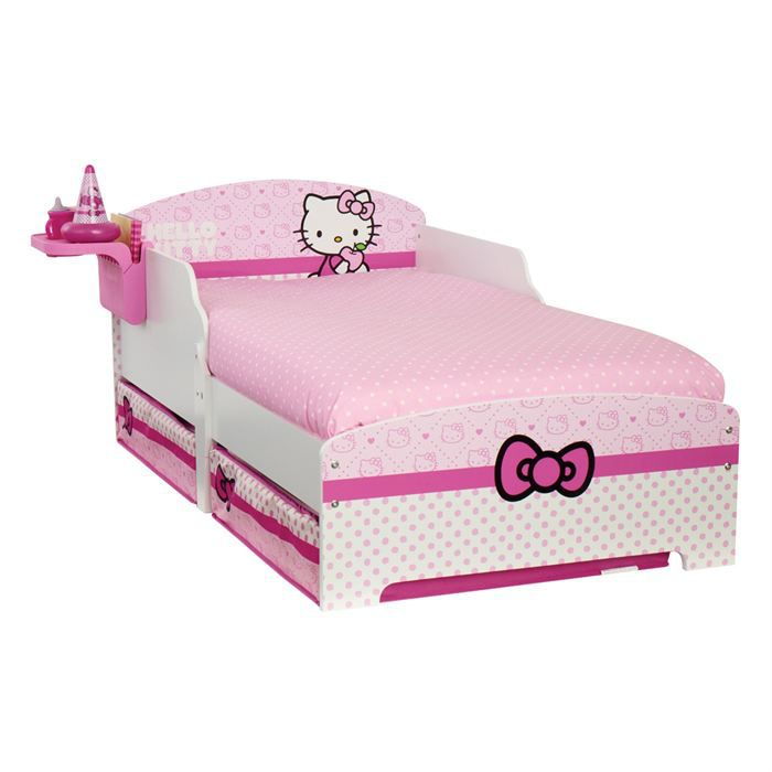 lit enfant hello kitty avec rangement 70 x 140 cm worlds appart achat vente structure de. Black Bedroom Furniture Sets. Home Design Ideas