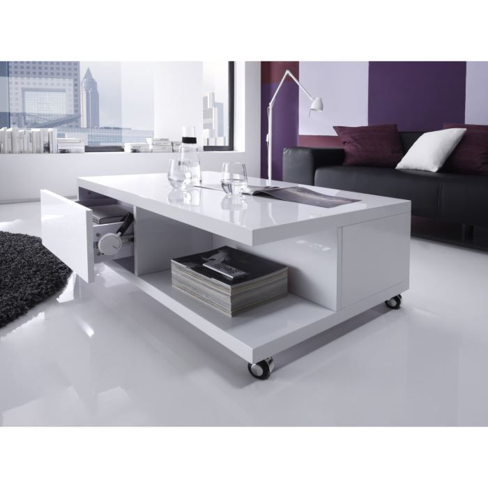 tjark table basse 115x70cm laqu e blanc achat vente table basse tjark table basse 115x70xh32. Black Bedroom Furniture Sets. Home Design Ideas