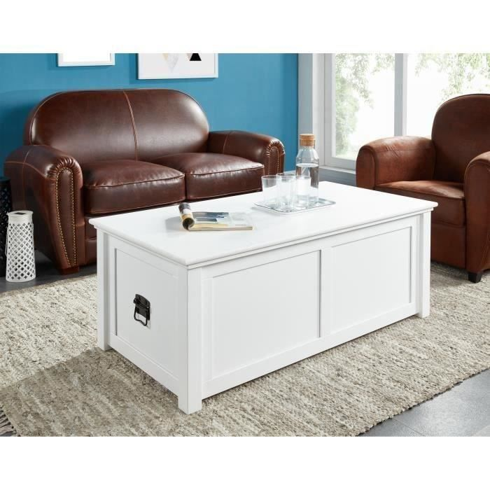Montauk table basse avec coffre en mdf plateau pin laqu blanc romantiq - Table basse coffre blanc ...