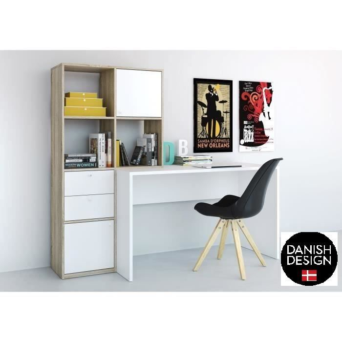 function bureau biblioth que 151 cm d cor ch ne sonoma et blanc achat vente bureau. Black Bedroom Furniture Sets. Home Design Ideas