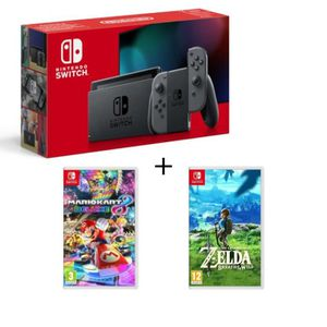 CONSOLE NINTENDO SWITCH Switch grise + Mario Kart 8 Deluxe + The Legend of
