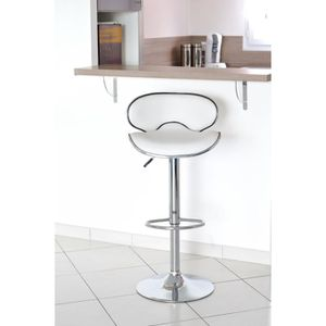 TABOURET DE BAR YORK  Lot de 2 Tabourets de bar blanc