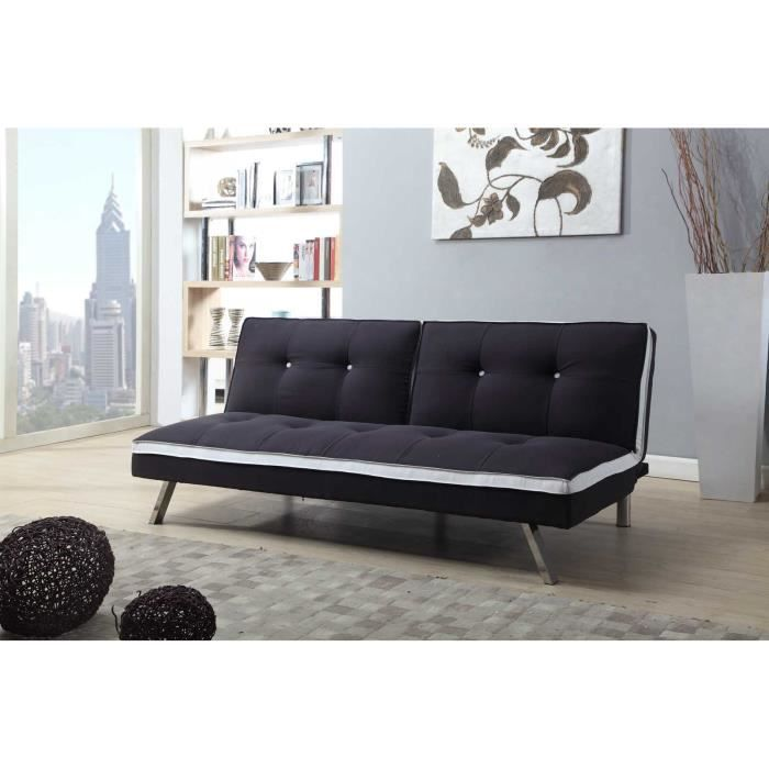 spock banquette clic clac convertible simili et tissu 3 places m moire de forme 180x109x40 5. Black Bedroom Furniture Sets. Home Design Ideas