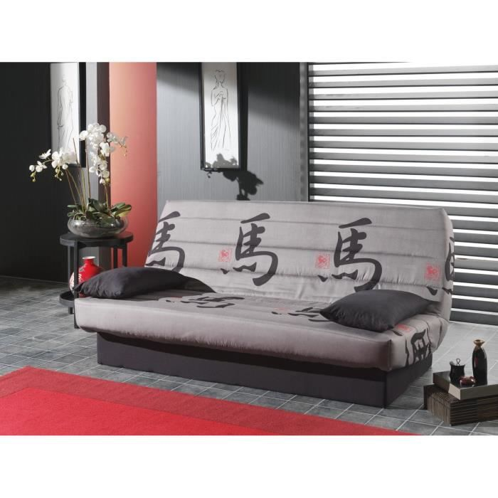 tokyo banquette clic clac 3 places 190x89x90 cm gris et noir achat vente clic clac. Black Bedroom Furniture Sets. Home Design Ideas