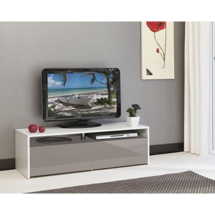 sun meuble tv 120cm blanc et taupe laqu achat vente meuble tv sun meuble tv 120cm bl t. Black Bedroom Furniture Sets. Home Design Ideas