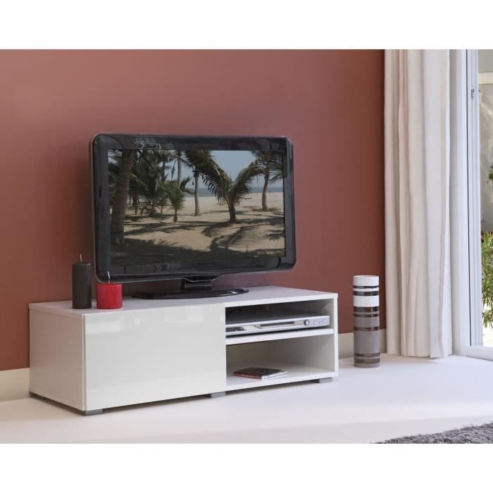 Lime meuble tv contemporain blanc l 96 cm achat for Meuble tv blanc 90 cm