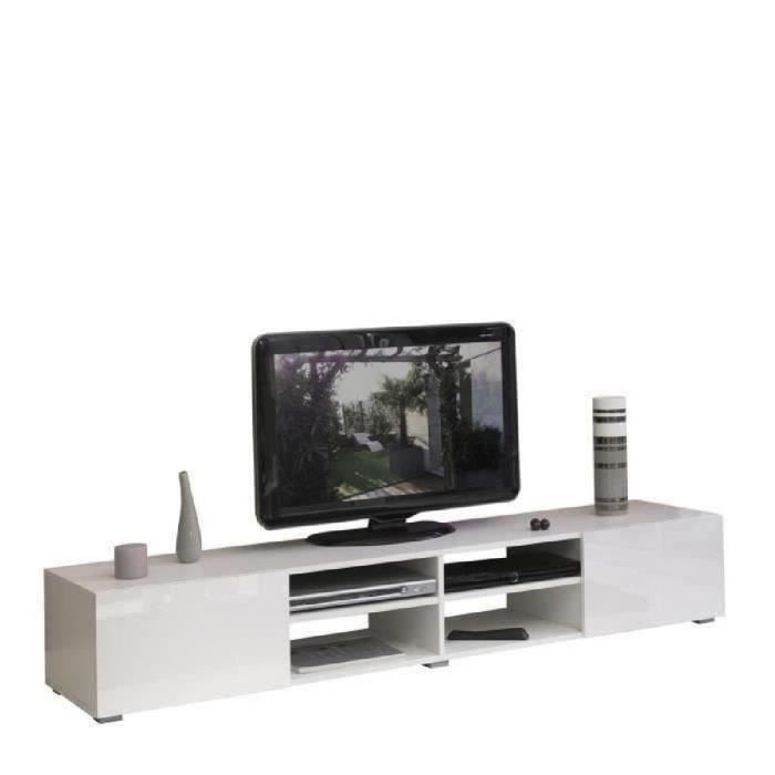 lime meuble tv 185 cm blanc brillant achat vente meuble tv lime meuble tv 185 cm structure. Black Bedroom Furniture Sets. Home Design Ideas