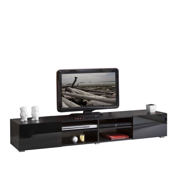 Lime meuble tv contemporain noir l 185 cm achat for Meuble tv design noir
