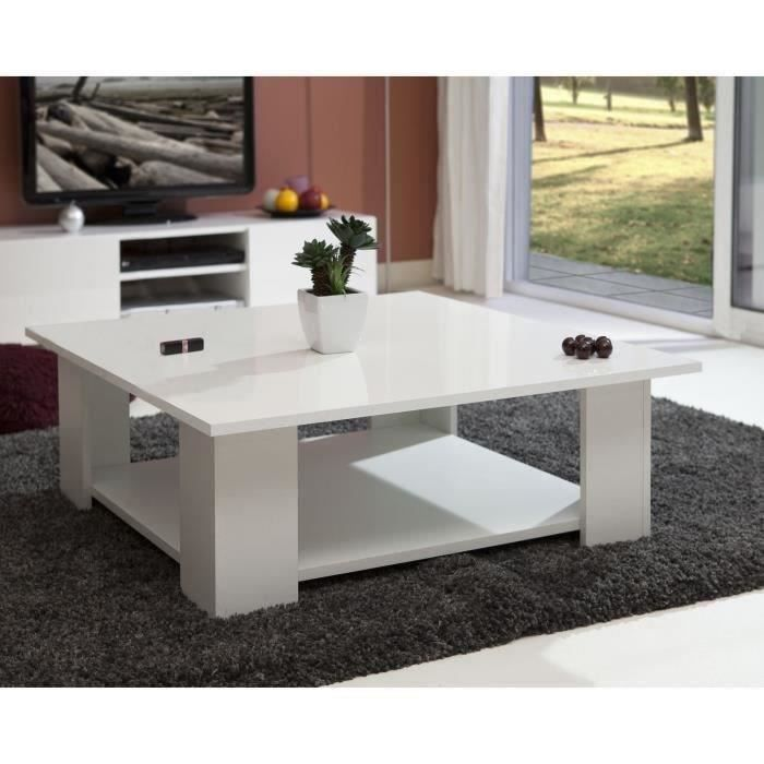 Table basse carr e lime plateau laqu blanc salon for Table basse carree blanc laquee
