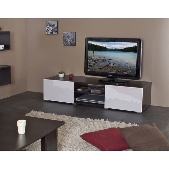 mango banc tv 140cm chocolat et laqu blanc achat. Black Bedroom Furniture Sets. Home Design Ideas