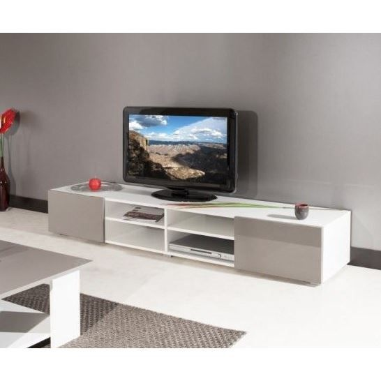 mango meuble tv 185 cm blanc taupe achat vente meuble tv mango meuble tv 185 cm bois. Black Bedroom Furniture Sets. Home Design Ideas