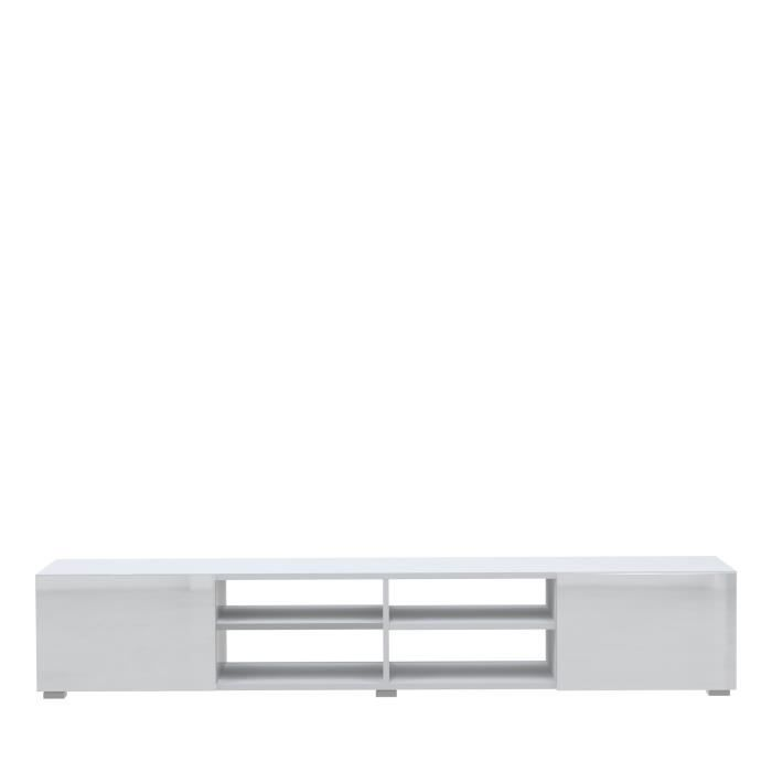 mango banc tv 185cm fa ades laqu es blanc achat vente meuble tv mango banc tv blanc brillant. Black Bedroom Furniture Sets. Home Design Ideas