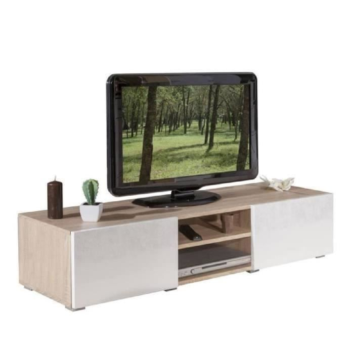 lime meuble tv contemporain blanc et ch ne l 140 cm. Black Bedroom Furniture Sets. Home Design Ideas