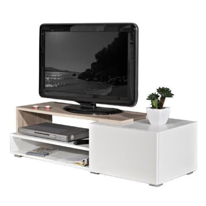 oslo meuble tv contemporain m lamin blanc et d cor ch ne laqu s 120 cm achat vente meuble. Black Bedroom Furniture Sets. Home Design Ideas