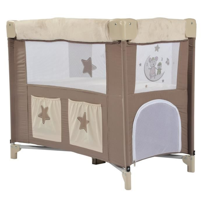 looping berceau lit pliant lune c line taupe et beige achat vente lit pliant 3159059017327. Black Bedroom Furniture Sets. Home Design Ideas