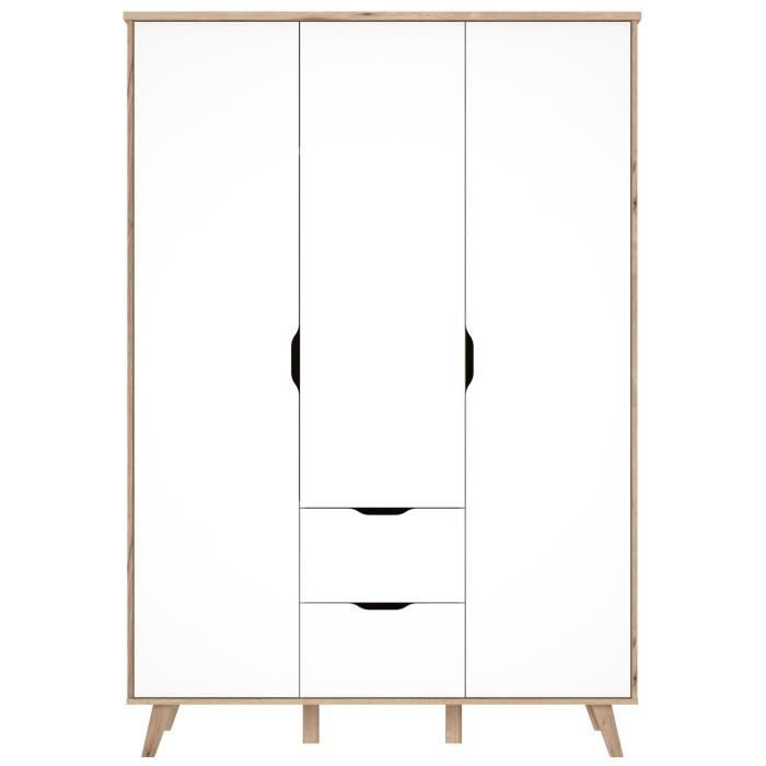 finlandek armoire de chambre vankka scandinave d cor ch ne et blanc mat pieds en bois massif. Black Bedroom Furniture Sets. Home Design Ideas