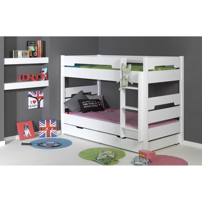 milo lits superposables enfant tiroir 2 matelas achat. Black Bedroom Furniture Sets. Home Design Ideas