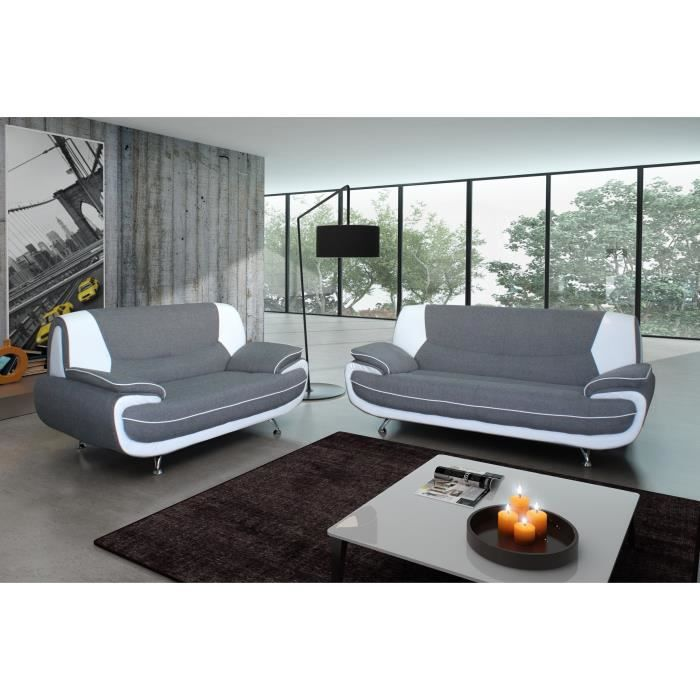 Ensemble canap 3 places 2 places gris blanc achat vente canap sofa - Canape 3 places et 2 places ...