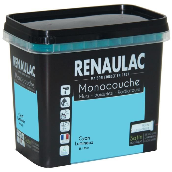 peinture murale monocouche multi support 0 75 l cyan lumineux satin murs boiseries. Black Bedroom Furniture Sets. Home Design Ideas
