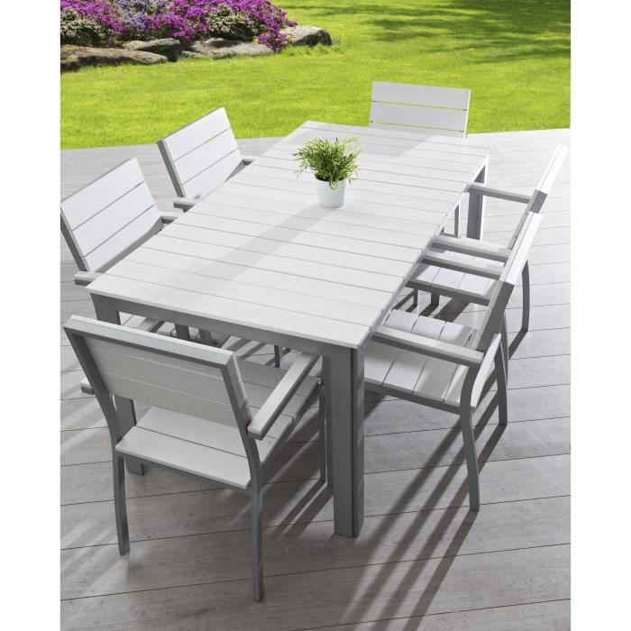 Salon de jardin 6 places aluminium composite blanc - Achat ...