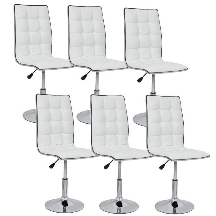 leaf lot de 6 chaises de salle manger blanches achat. Black Bedroom Furniture Sets. Home Design Ideas