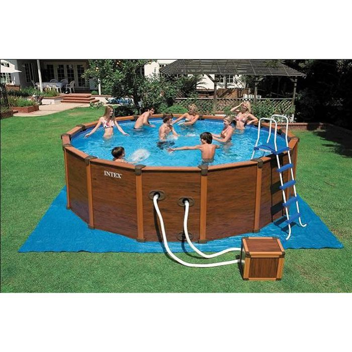 intex kit piscine sequoia aspect bois achat. Black Bedroom Furniture Sets. Home Design Ideas