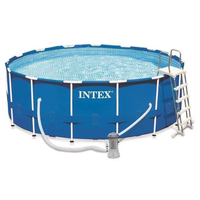 Intex kit piscine tubulaire ronde 457x122cm bleu achat for Piscine ronde intex