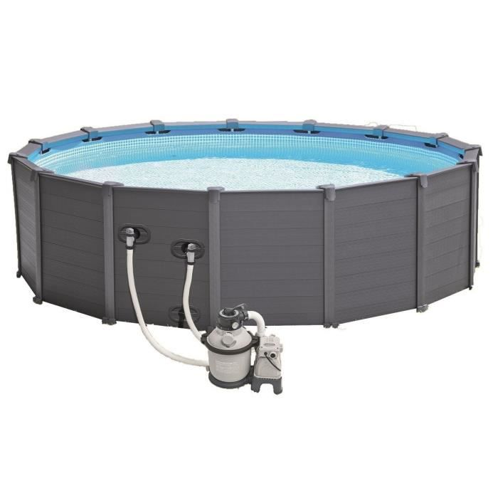 Intex kit piscine graphite ronde 478x124cm gris achat for Piscine ronde intex