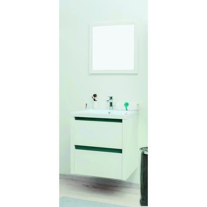 kris ensemble meuble de salle de bain 60cm turquoise e blanc achat vente meuble vasque. Black Bedroom Furniture Sets. Home Design Ideas