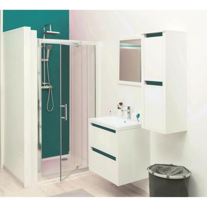 KRIS Colonne de salle de bain L 35 cm - Blanc et bleu lagon mat