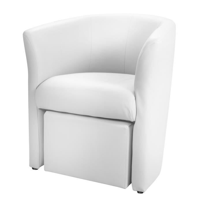 baya fauteuil pouf en simili cabriolet blanc achat vente fauteuil pvc polyur thane. Black Bedroom Furniture Sets. Home Design Ideas