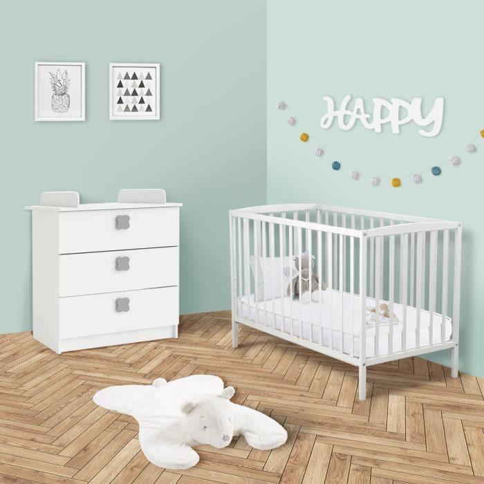 LIT BÉBÉ HAPPY Chambre bébé 2 pcs : lit bois 60x120 cm + co