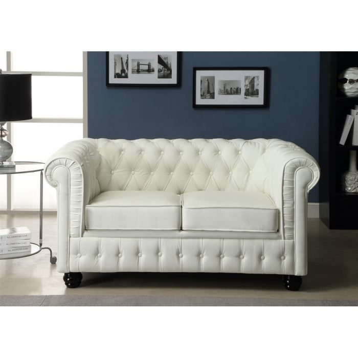 chesterfield canap en cuir et simili 2 places 152x88x75 cm blanc achat vente canap. Black Bedroom Furniture Sets. Home Design Ideas