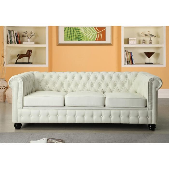 Chesterfield canap en cuir et simili 3 places 213x88x75 cm blanc achat - Canape chesterfield ancien ...