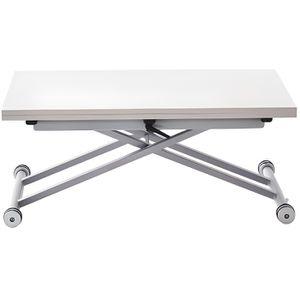 TABLE BASSE Table relevable extensible - Mélaminé blanc - 100