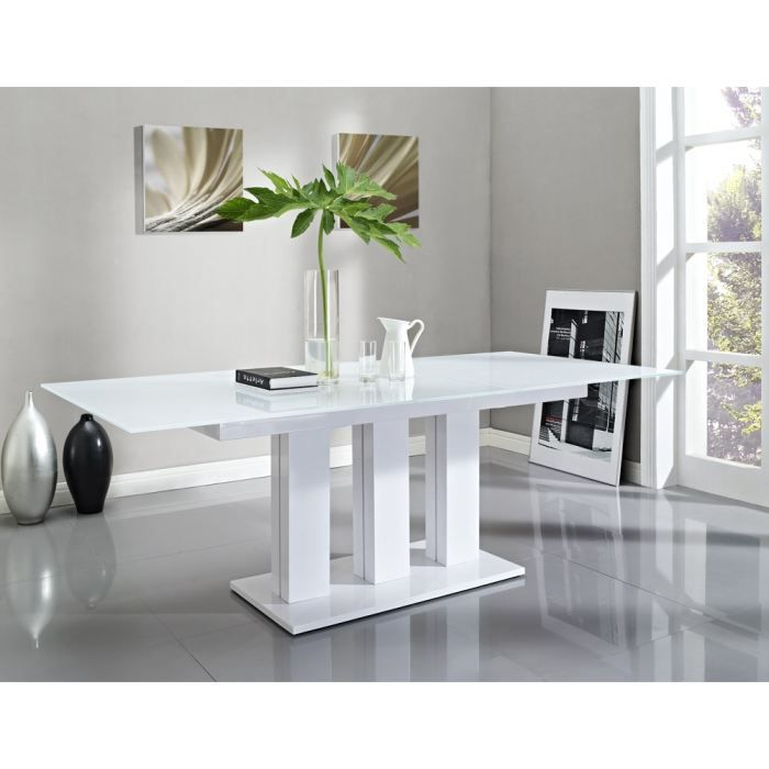 Acadia table extensible 180 220cm en verre blanc achat for Table verre blanc extensible