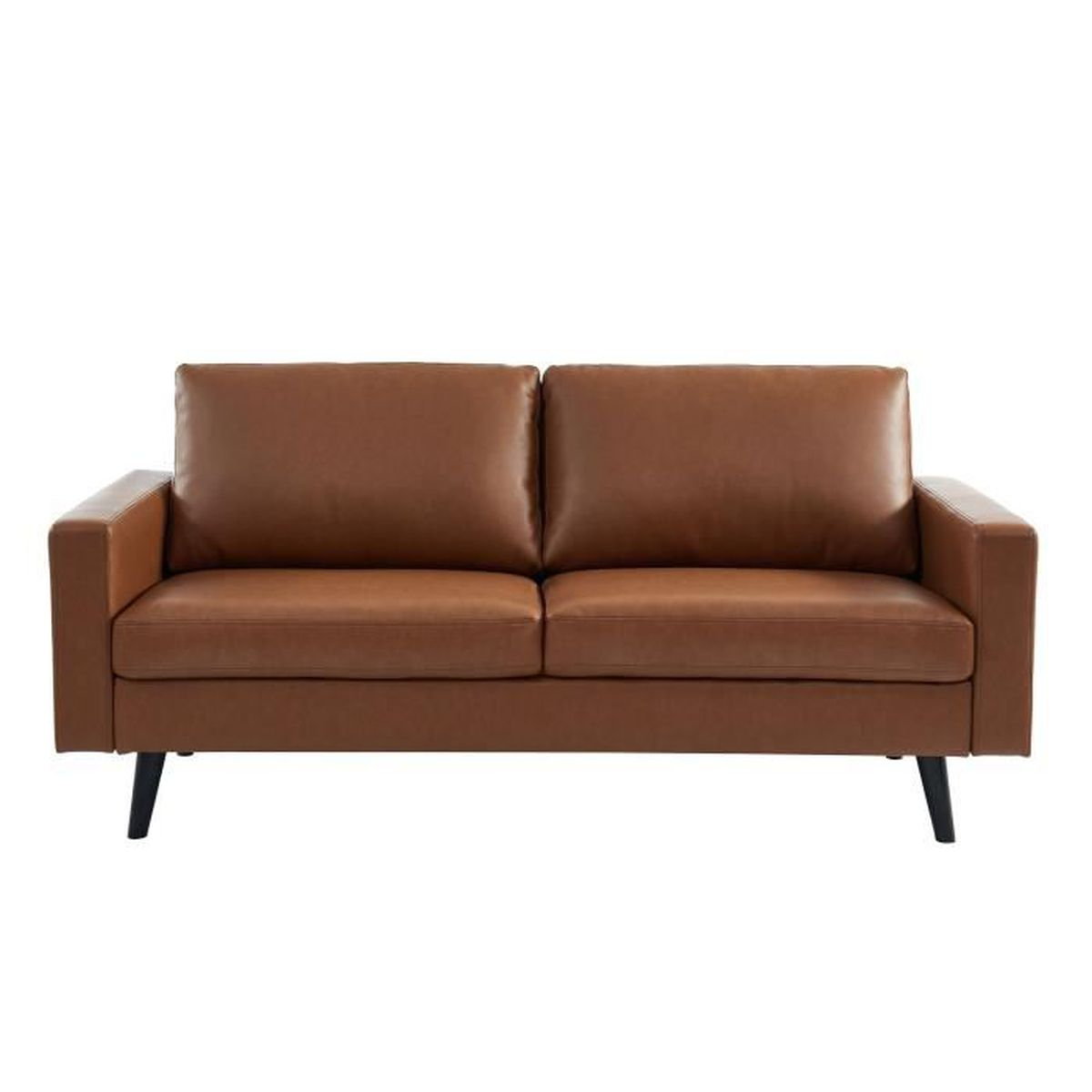 CANAPÉ - SOFA - DIVAN GASPARD Canapé droit 2/3 places - Simili Marron Ha