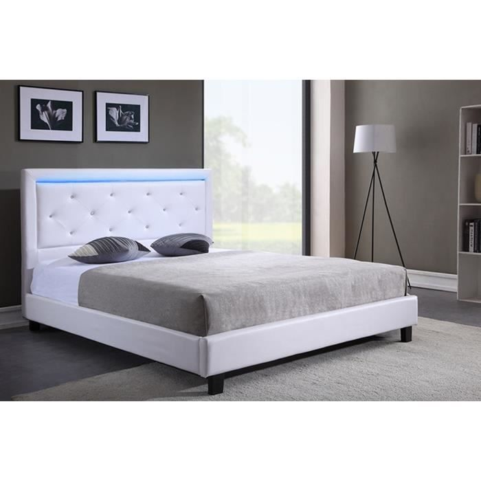 filip lit adulte contemporain simili blanc sommier et t te de lit avec led inclus l 160 x l. Black Bedroom Furniture Sets. Home Design Ideas