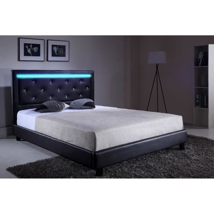 filip lit adulte avec led contemporain simili noir et strass l 167 x l 215 cm achat vente. Black Bedroom Furniture Sets. Home Design Ideas
