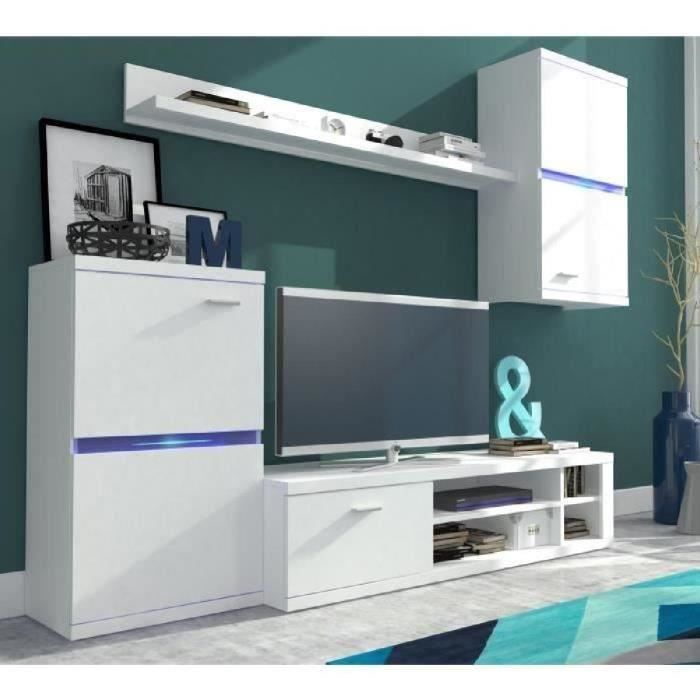 Intel meuble tv mural avec clairage led contemporain rev tement m lamin blanc mat l 210 cm - Meuble tv mural cdiscount ...