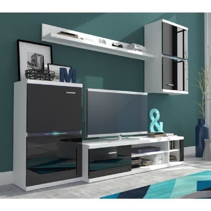 intel meuble tv mural avec clairage led contemporain rev tement m lamin noir brillant et blanc. Black Bedroom Furniture Sets. Home Design Ideas