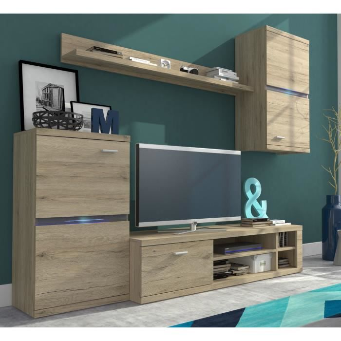 intel meuble tv mural avec clairage led contemporain rev tement m lamin d cor ch ne mat l. Black Bedroom Furniture Sets. Home Design Ideas