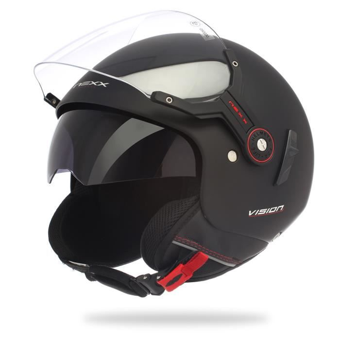 casque jet scooter moto nexx x60 vision flex noir achat. Black Bedroom Furniture Sets. Home Design Ideas
