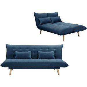 BANQUETTE SOLIS Banquette convertible 3 places - Tissu Bleu