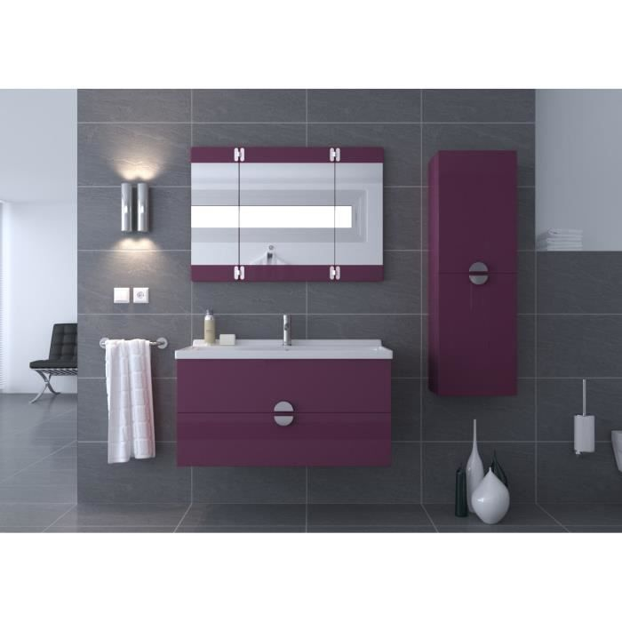 ga a salle de bain compl te 100cm violet brillant achat vente salle de bain complete ga a. Black Bedroom Furniture Sets. Home Design Ideas